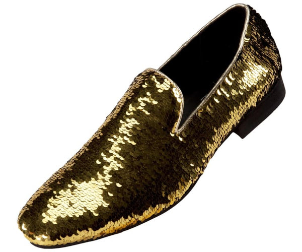Flipp Smoking Slipper Reversible Metallic Sequins Loafer Dress Shoe Smoking Slippers Black/gold / 10