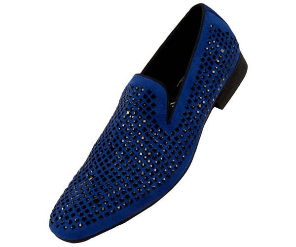 Devy Small Studded Smoking Slipper Dress Shoes Smoking Slippers Royal Blue / 10