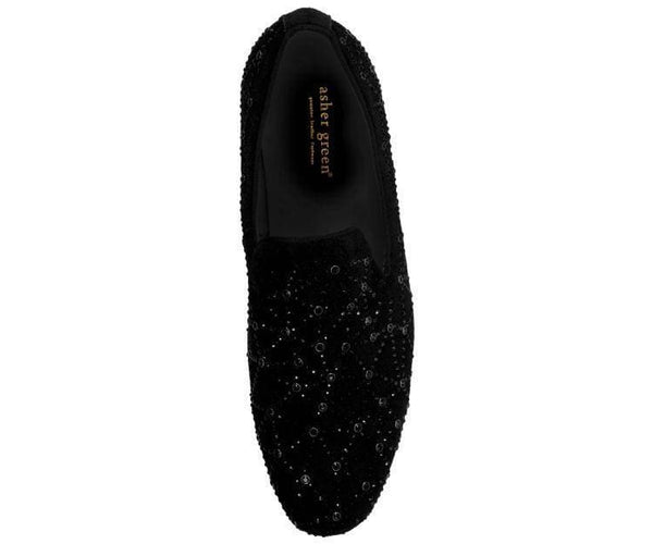 Ag641-000 Black Crystal And Black Suede Smoking Slipper Smoking Slippers