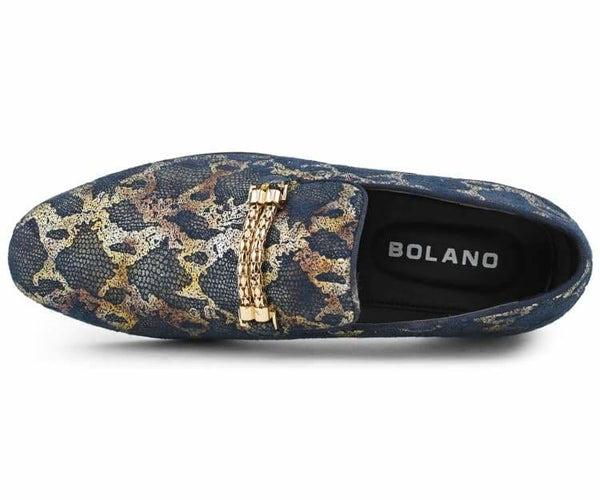 Bolano Zuri - Colorful and Unique Men's Slip-On Loafers, Designer Mens Shoes with Reptile Print and Gold Bit