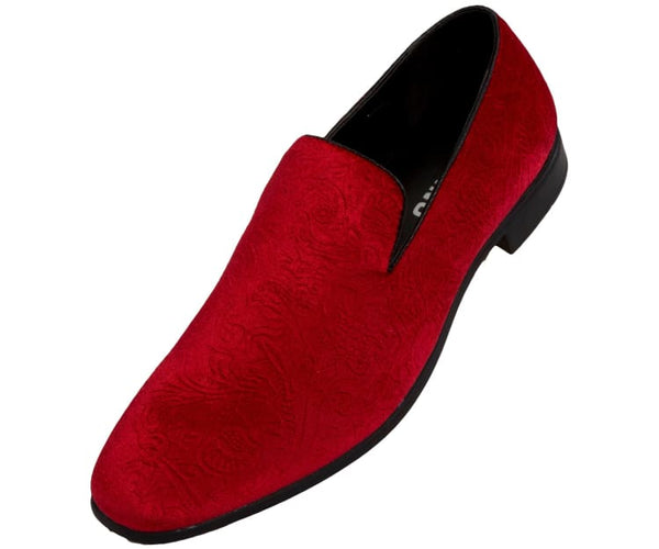 Jay Mens Velvet Smoking Slippers In Paisley Dress Shoes Smoking Slippers Red / 10