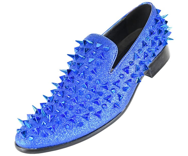 Mesa Mens Glitter Faux Suede Spiked And Studded Smoking Slipper Smoking Slippers Blue / 10
