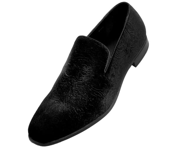 Jay Mens Velvet Smoking Slippers In Paisley Dress Shoes Smoking Slippers Black / 10