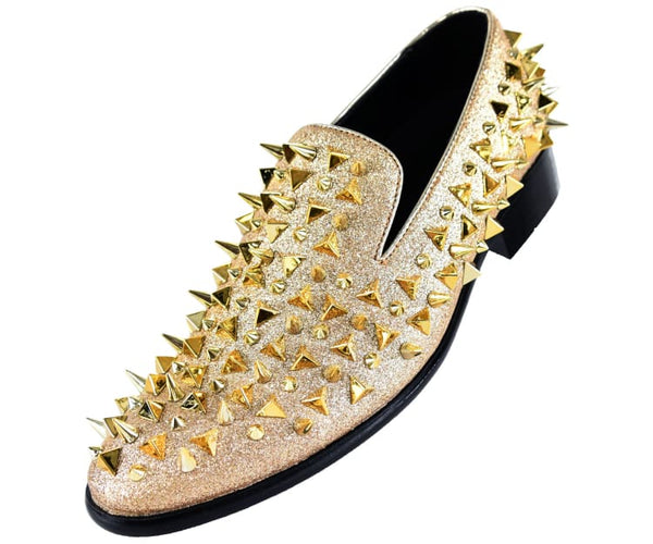 Mesa Mens Glitter Faux Suede Spiked And Studded Smoking Slipper Smoking Slippers Gold / 10