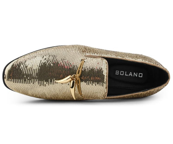 Bolano Stanz - Men's Shimmering Sequin Slip-On Loafers, Designer Mens Shoes with Metal Tassels