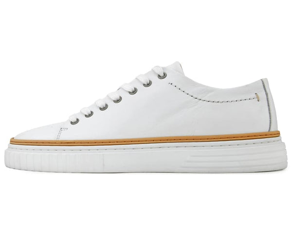 COXX BORBA Genuine Leather Classic Low Top Sneaker with Contrast Stitching and White Bottom, Hand Crafted in Portugal