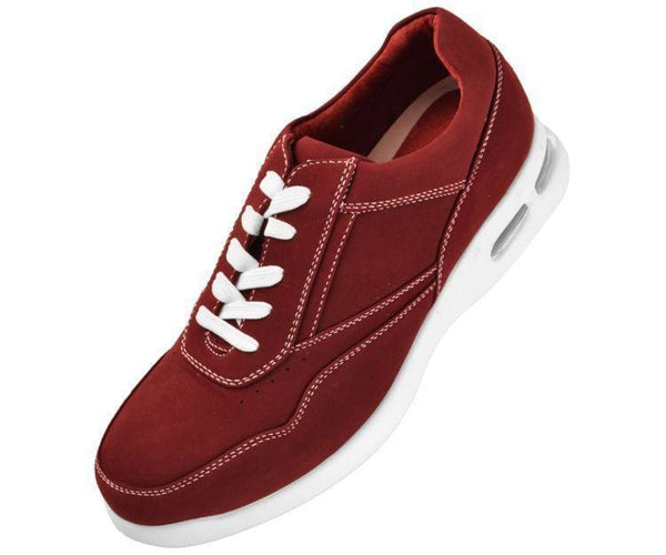 Skipper Nubuck Faux Leather Low Top Sneaker Sneakers Burgundy / 10