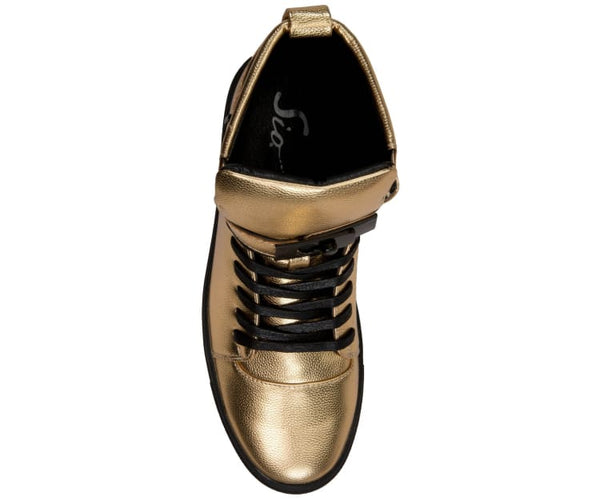Jupiter Mens Metallic Pebble Grain High Top Sneaker Fashion Sneakers