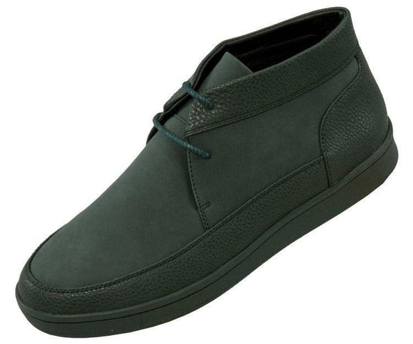 Tyson Pebble Grain And Faux Suede Moc Toe High Top Casual Sneaker Sneaks Hunter Green / 10