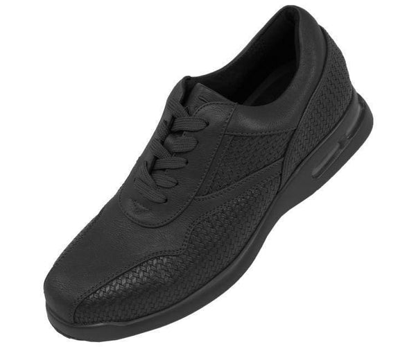 Weavy-Black Faux Leather Woven Low Top Sneaker Sneaks 10
