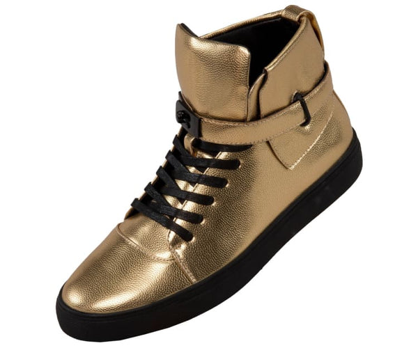 Jupiter Mens Metallic Pebble Grain High Top Sneaker Fashion Sneakers Gold / 10