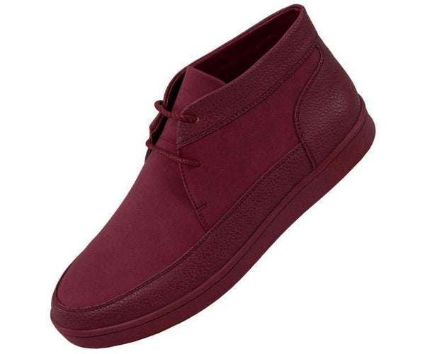 Tyson Pebble Grain And Faux Suede Moc Toe High Top Casual Sneaker Sneaks Burgundy / 10
