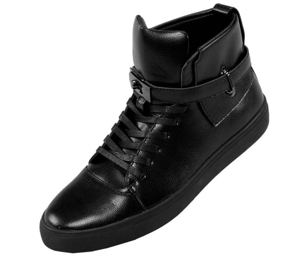 Jupiter Mens Metallic Pebble Grain High Top Sneaker Fashion Sneakers Black / 10