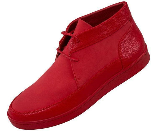 Tyson Pebble Grain And Faux Suede Moc Toe High Top Casual Sneaker Sneaks Red / 10