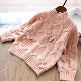 Toddler Girls Warm Bow Design Sweater 3-4 / 6-7 years