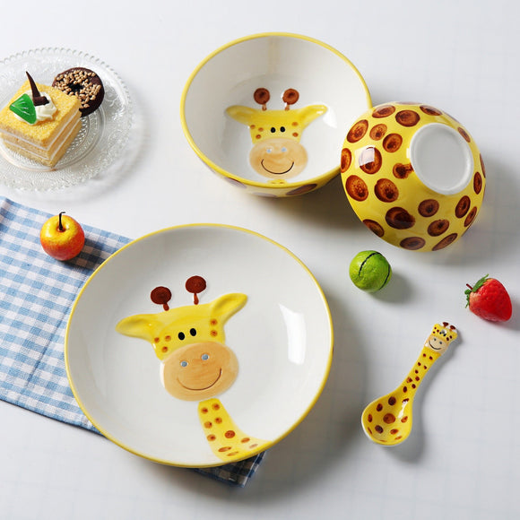 Hand-painted non-toxic animal porcelain tableware 4 pc set - Just Be Special