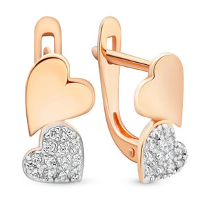 Girls Russian Gold 585 Hearts Design Earrings - Just Be Special