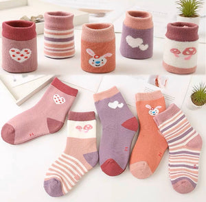 Toddler Girls Warm Thick Cotton 5-Pieces Socks 1-3 years - Just Be Special