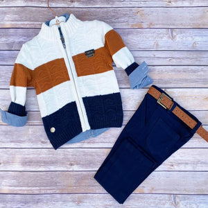 Toddler Boys 3-Piece Soft Jeans Cotton T-Shirt Cardigan Premium Quality Set 1-2 / 3-4 years - Just Be Special