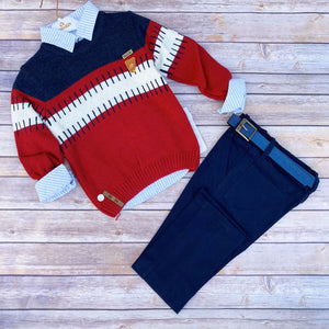 Toddler Boys 3-Piece Soft Jeans T-Shirt Sweater Premium Quality Set 4 - 8 years - Just Be Special