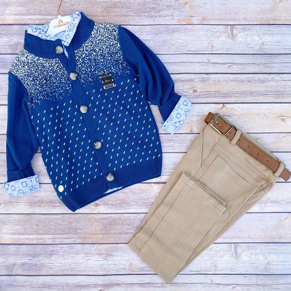Toddler Boys 3-Piece Soft Pants T-Shirt Cardigan Premium Quality Set 4 - 8 years - Just Be Special