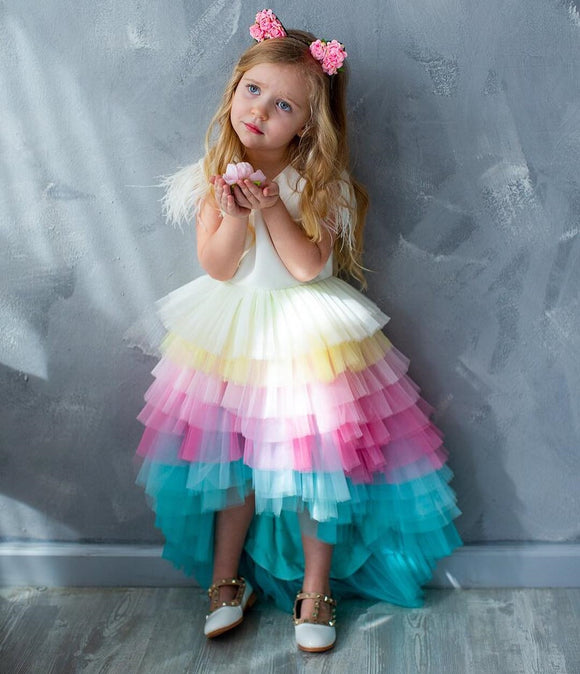 Amanda Handmade Birthday Rainbow Princess Toddler Girls Dress - Just Be Special