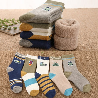 Toddler Boys Warm Thick Cotton 5-Pieces Socks 1-3 / 3-5 / 6-8 / 8-9 years - Just Be Special