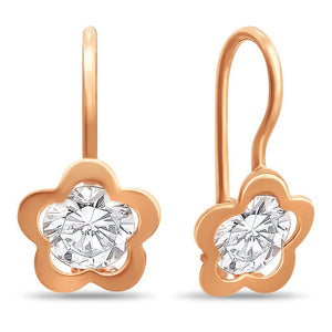 Girls Russian Gold 585 Flower Design Earrings - Just Be Special