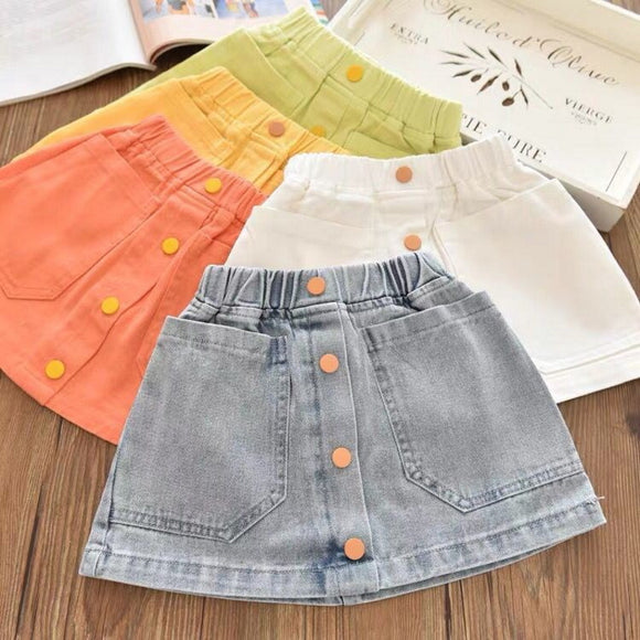 Toddler Girls Colorful Jeans Skirt 3 - 8 years