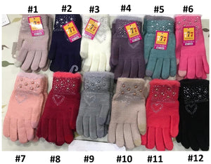 Girls Warm Sparkle Design Winter Wool Gloves 7-15 years - Just Be Special
