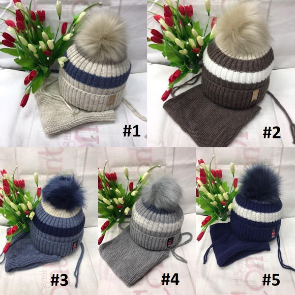 Toddler Boys Winter Warm Stylish Hat Scarf Set 4 - 7 years - Just Be Special