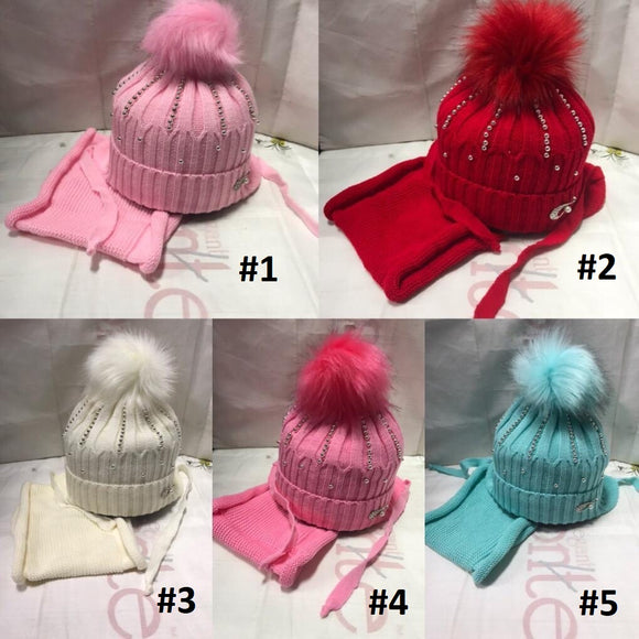 Toddler Girls Winter Warm Stylish Hat Scarf Set 3 - 5 years - Just Be Special