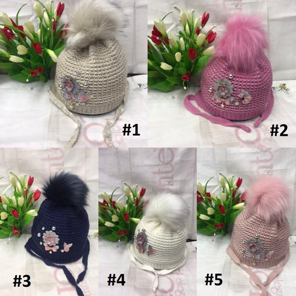 Toddler Girls Winter Flower Design Hat 4 - 7 years - Just Be Special