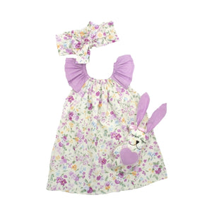 Sophia 3-Piece Dress Bow Bunny Toy Handmade Baby Girl Dress Set - Just Be Special