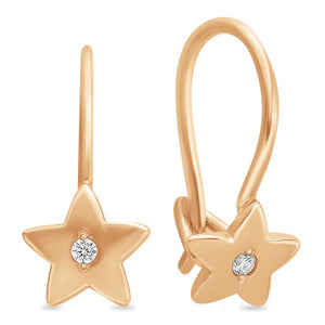 Little Girls Russian Gold 585 Star Design Earrings - Just Be Special