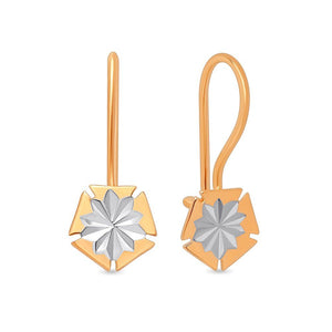 Girls Russian Gold 585 Stylish Geometry Earrings - Just Be Special