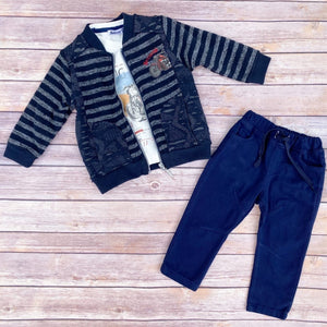 Toddler Boys Stylish 3-Piece T-Shirt Pants Cardigan Premium Quality Set 1-2 / 2-3 years - Just Be Special