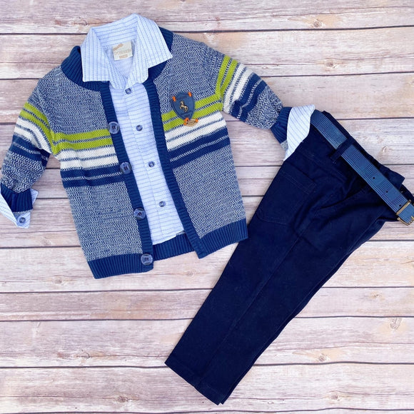 Toddler Boys 3-Piece Pants T-shirt Cardigan Premium Quality Set 1-2 / 3-4 years - Just Be Special