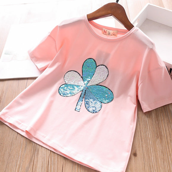 Toddler Girls Summer Sequin Design T-Shirt 7 - 15 years