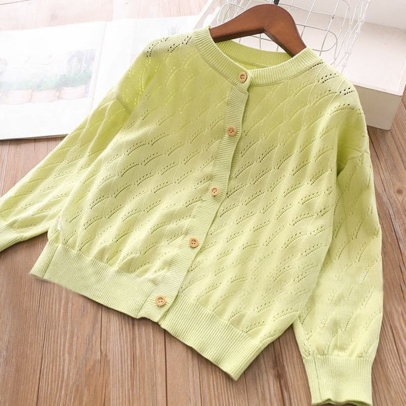 Toddler Girls Bright Green Design Cotton Cardigan 6-7 / 8-9 / 9-10 years