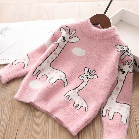 Toddler Girls Giraffe Design Angora Sweater 3 - 8 years