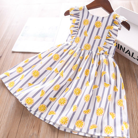 Toddler Girls Cute Lemon Design Cotton Dress 2 - 8 years