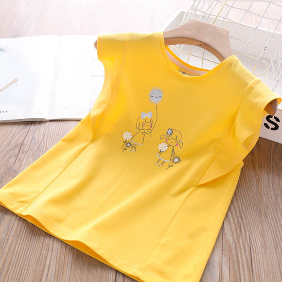 Toddler Girls Soft Cotton Yellow T-Shirt 7-8 / 8-9 / 9-10 years