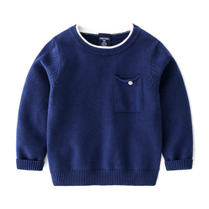 Toddler Boys Cotton Knit Dark Blue Sweater 2 - 6 years - Just Be Special
