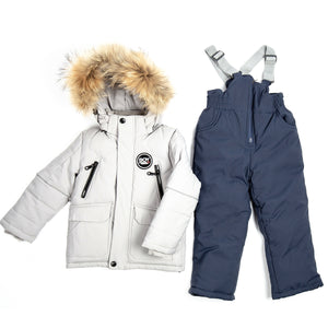 Toddler Boys 2-Piece Winter Jacket Overall Grey Set 2 - 6 years