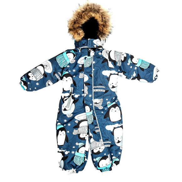 Toddler Boys Winter Waterproof Penguin Design Overall 12m - 4 years
