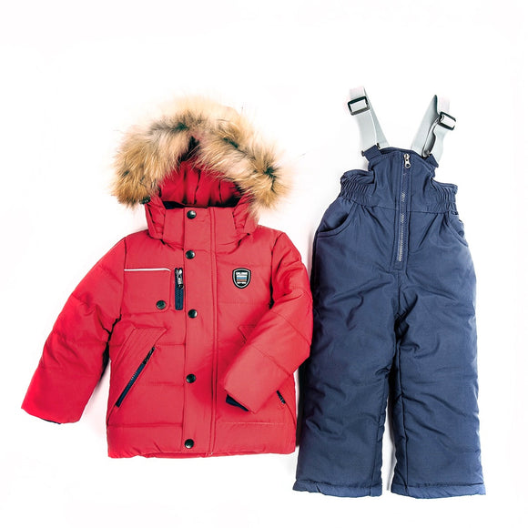 Toddler Boys 3-Piece Winter Jacket Sheep Wool Vest Overall Red Set 2 years - Just Be Special