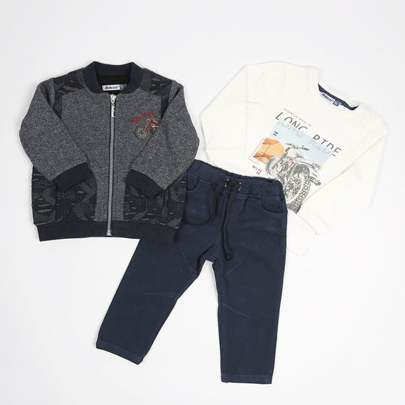 Toddler Boys Cozy Design 3-Piece T-shirt Pants Cardigan Premium Quality Set 1-2 / 2-3 years - Just Be Special