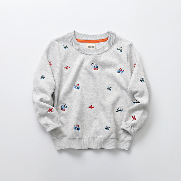 Toddler Boys Cartoon Design Cotton Knit Sweater 3 - 7 years - Just Be Special