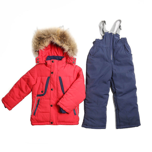 Toddler Boys 3-Piece Winter Stylish Jacket Sheep Wool Vest Overall Red Set 2 / 6 years - Just Be Special